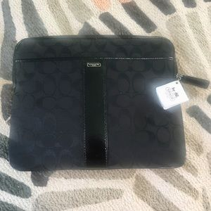 Coach black canvas and patent leather iPad case
